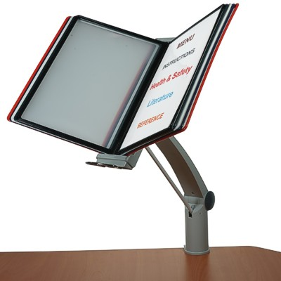 Adjustable flip display which clamps onto a table edge