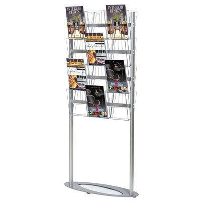Floor standing literature rack with access from both sides