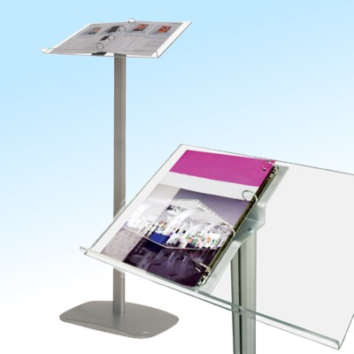 Simple low cost lectern with a ring binder for optional catalogue display