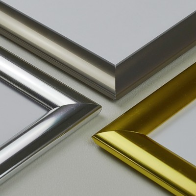 Gold, chrome and stainless steel snap frames