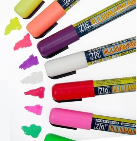 Zig Illumigraph wet wipe liquid chalk pens