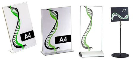 Tabletop sign holder - acrylic with silver base