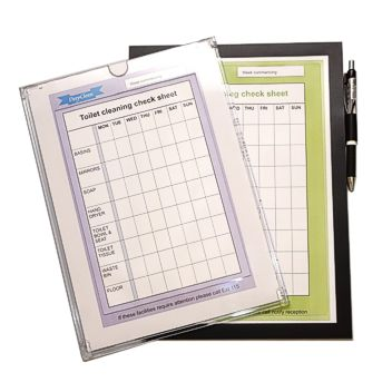 Two styles of Checklist Holder offering direct write-on access