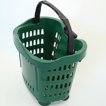 Trolley baskets have a retractable handle and wheels