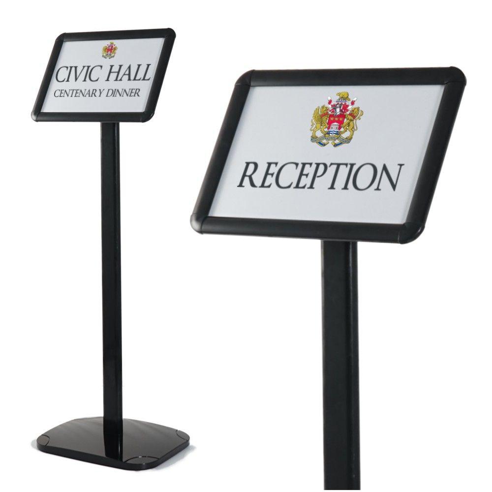 sign holders sign stands black floor standing. Black Bedroom Furniture Sets. Home Design Ideas