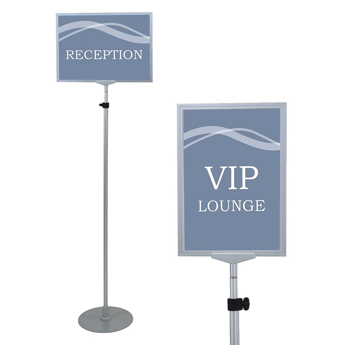 A3 Adjustable Pedestal Sign Holder Floor Stands Rack Black Acrylic Frames Advertising Banner Photo Menu Literature Display Frame Card Holder & Note Holder