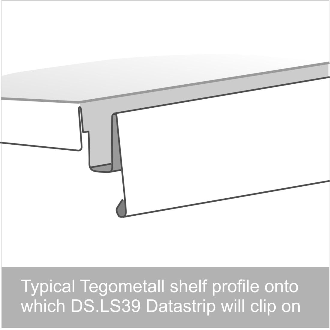 Data Strip Shelf Edge Ticket Holder EPOS 39mm H x Various Lengths Available