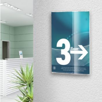 Curved face crystal clear door sign