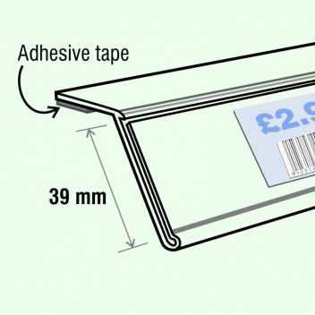 Angled data strip with adhesive tape