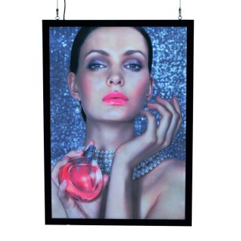 Superior quality LED illuminated poster case for cable suspension