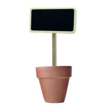 Mini wooden chalkboard stake in pot