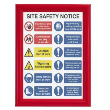 Red A3 snap frame - fire safety signage