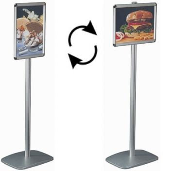 Tall menu stand with snap frame poster boards