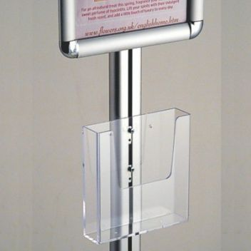 Tall menu stand with optional leaflet dispensers