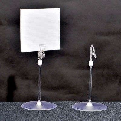 Clear Plastic Table Top Stand With Card Clip Sign