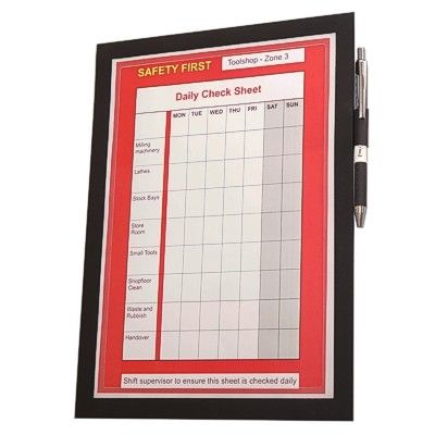 Flexible Check Sheet Holder With Magnetic Flap Sign