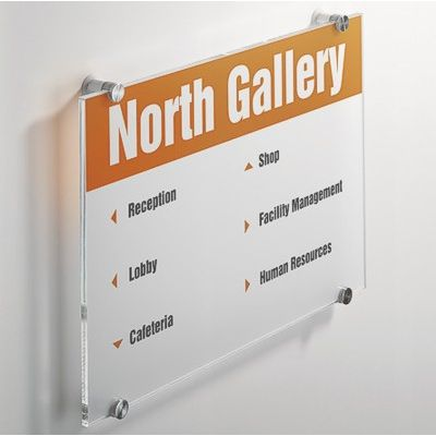 A3 Acrylic sign with 4 standoff fittings