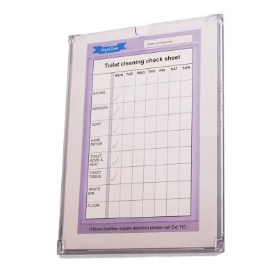 Superior design A4 holder for toilet cleaning checklists