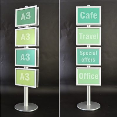 Vertical poster stands for 4 or 8 A3 posters