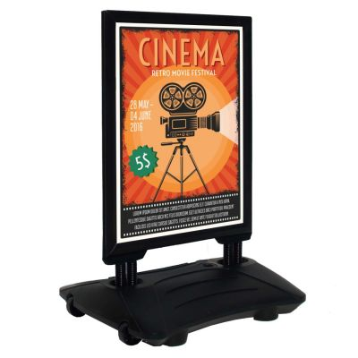 Black weatherproof pavement sign with wheels