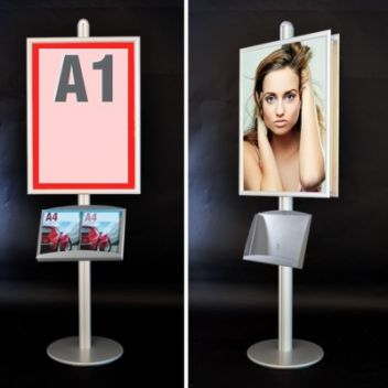 A1 poster stand with brochure shelf