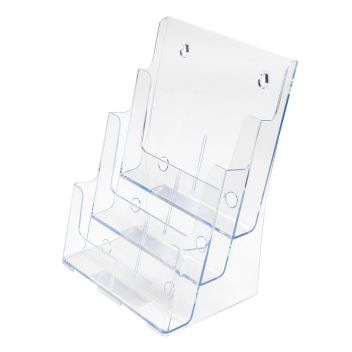 A4 and A5 literature dispenser - tiered 3-bay