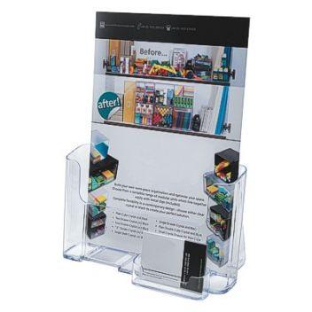 A4 leaflet holder with business card holder