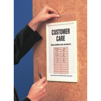 Plastic sign frames with adhesive fixings and cover
