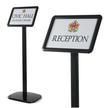 Sign stands black floor standing