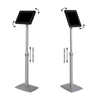 Flex height adjustable floor stand for iPad and tablet devices