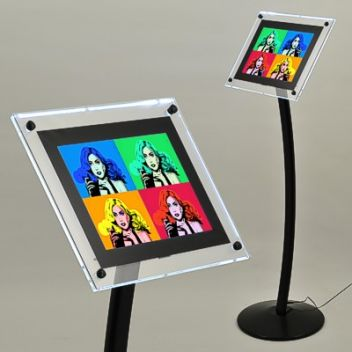 Illuminated menu display stand