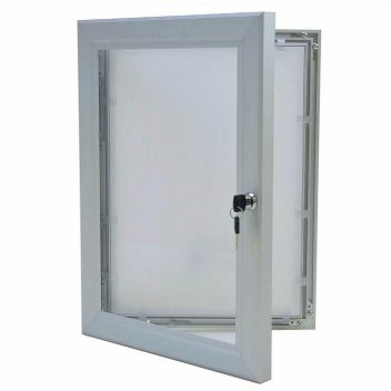 Lockable poster cases silver