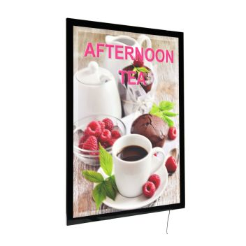 Illuminated poster frames with magnetic cover