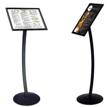 Menu display floor stand with curved leg