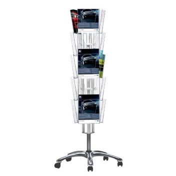 Brochure stand 3-sided with castors