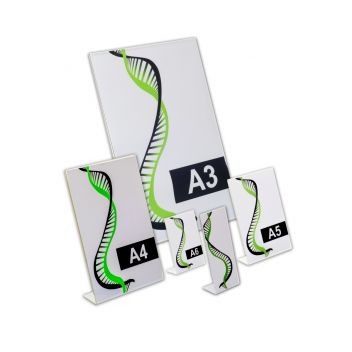 Acrylic sign holders - slanted