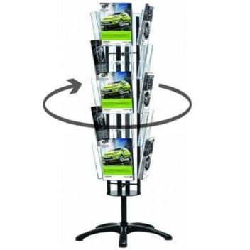 Revolving 4-sided carousel brochure stands