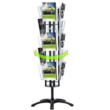 Revolving 4-sided carousel brochure stands