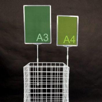 Show card holder for wire dump bin