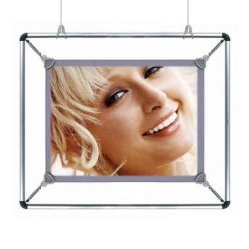 Suspended poster display frames