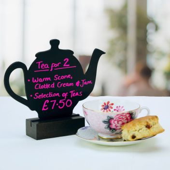 Teapot shaped tabletop chalkboard