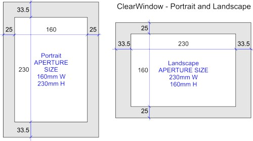 Clear window sign holder aperture dimensions