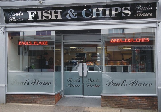 LED sign in Fish & Chip shop