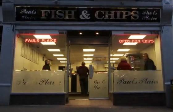 LED shop sign at dusk